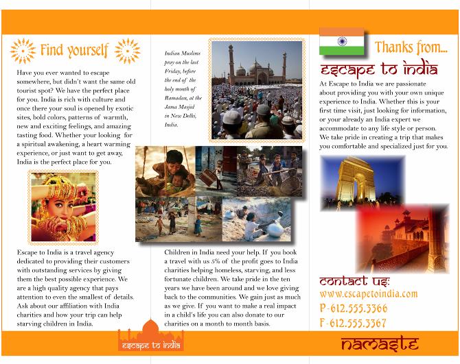 Escape to India Travel Agency - Cassandra Hendrix Portfolio